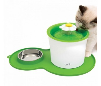 Catit Flower Fountain Combo and Placemat with Stainless Steel Dish 3L
