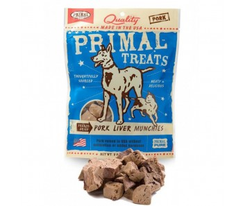 Primal Treats Freeze Dried Pork Liver Munchies For Dog & Cat 2oz