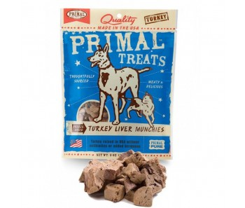 Primal Treats Freeze Dried Turkey Liver Munchies For Dog & Cat 2oz