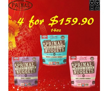 'Primal Freeze-Dried Feline 14oz (Quartet Bundle Mix) - Buy 4 For $159.90
