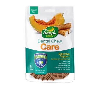 "Happi Doggy Dental Chew Care Digestive Support With Pumpkin & Mountain Yam - Regular 4"" 150g"