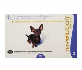 Revolution Topical Spot On for Dogs 2.6 - 5kg (Purple) 3 Doses