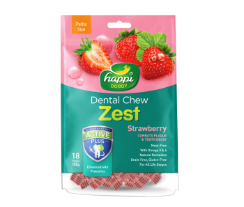 "Happi Doggy Dental Chew Zest Strawberry - Petite 2.5"" 150g"