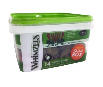 Whimzees All Natural Dog Dental Chews - Variety Value Box Large 14pcs