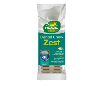"Happi Doggy Dental Chew Zest 4"" Milk - 25g"