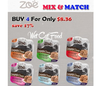 """ZOE CAT WET RECIPES DELIGHTFUL DUETS SAVORY PATE MIX & MATCH 80G"
